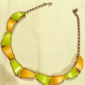 Jewelry - Vintage choker necklace/ orange and blue!